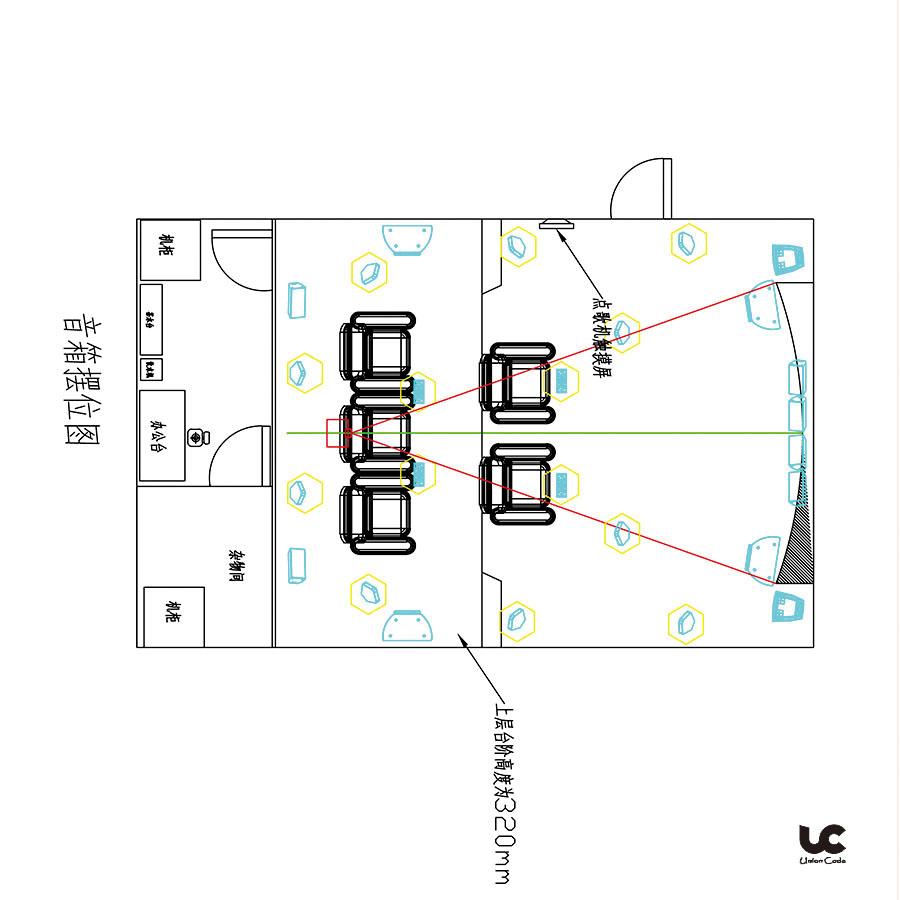 此体验馆的面积为51.3平方米,是用作独立的语音室,客户在装修之前,就已经联系我们,所以,此方案是配合装修施工同时进行的。此体验馆安装的是我们最新的全景声影院,在声音立体环绕的同时,还做到了完美的平滑过渡。 1.此是客户发给我们的房间CAD图  2.根据房间的情况,和声学原理, 我们制定出相应的音响摆位  3.